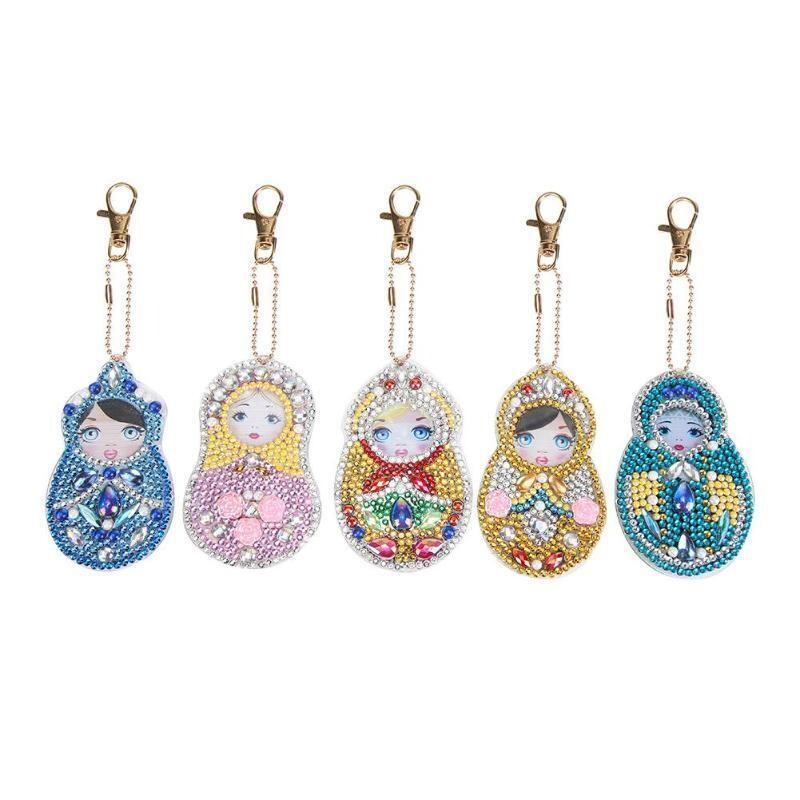 Diamond Painting Keychains - Dolls QC002 - Set of 5