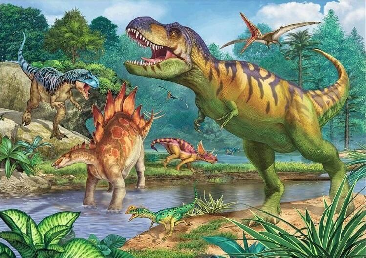 Dinosaurs - 50 x 70cm - Full Drill (round), Diamond Painting Kit - Currently in stock