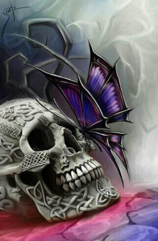 Skull and Butterfly - 40 x 50cm Full Drill (Square), Diamond Painting Kit - Currently in stock