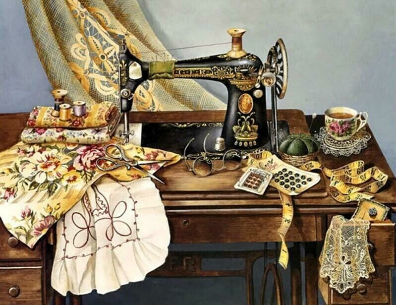 Vintage Sewing Machine - 40 x 50cm Full Drill (Round), Diamond Painting Kit - Currently in stock