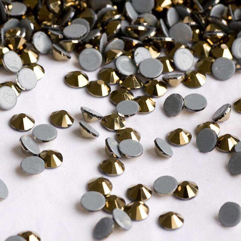 Golden/Aurum Glass Flat Back Rhinestones, Sliver Back