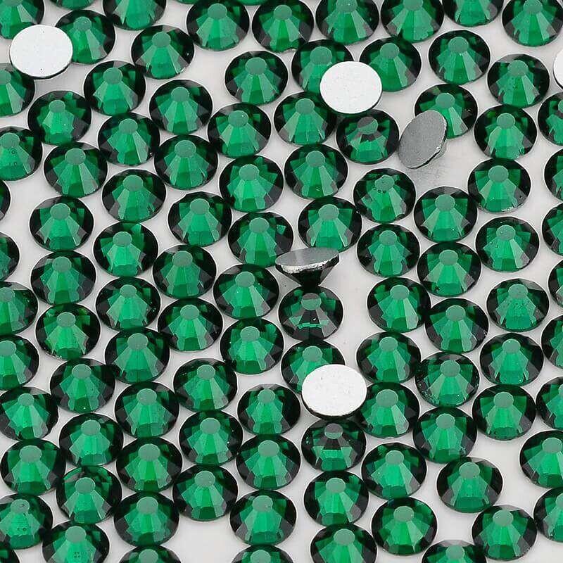 Dark Green Glass Flat Back Rhinestones, Sliver Back