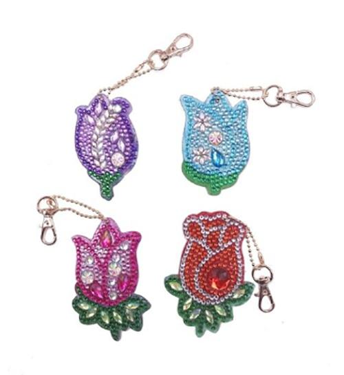 Diamond Painting Keychains - Tulips - Set of 4
