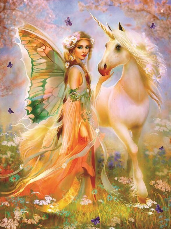Fairy and Unicorn - 40 x 50cm Full Drill (Round), Diamond Painting Kit - Currently in stock