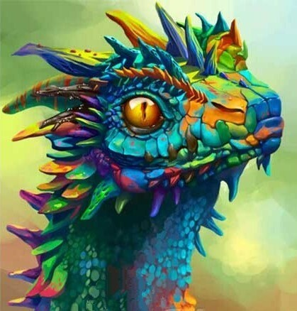 Colourful Dragon - 30 x 30cm Full Drill (Round) Diamond Painting Kit - Currently in stock
