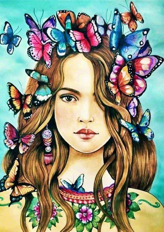 Butterfly Girl - 30 x 40cm Full Drill (Round) Diamond Painting Kit - Currently in stock