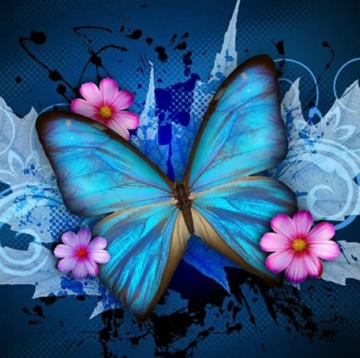 Butterfly in Blue - 40 x 40cm Full Drill (Round), Diamond Painting Kit - Currently in stock