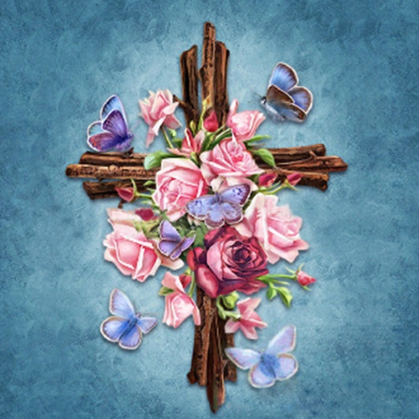 Rose and Cross - 40 x 40cm Full Drill (Round), Diamond Painting Kit - Currently in stock