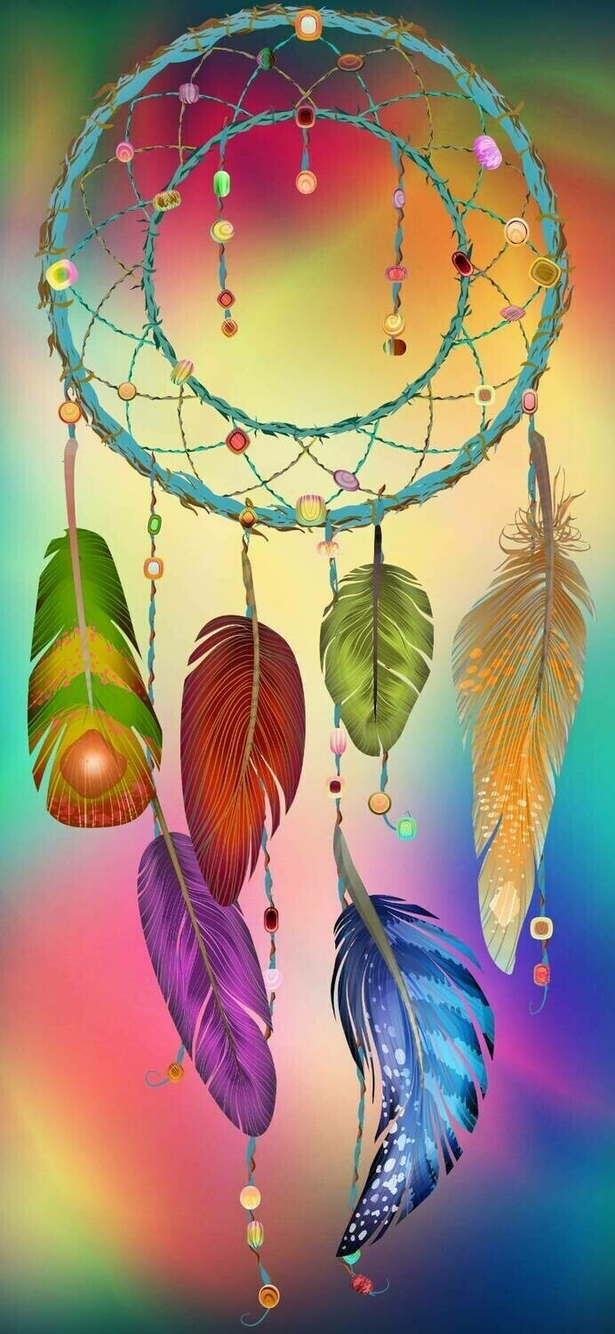 Amazing Colourful Dream Catcher - 30 x 70cm - Full Drill (Round), Diamond Painting Kit - Currently in stock