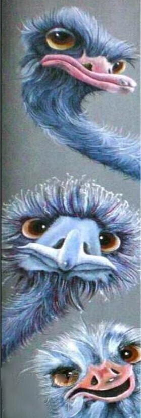 3 Emus Blue - 30 x 110cm- Full Drill (square) Diamond Painting Kit - Currently in stock