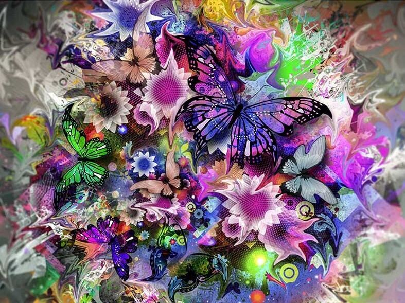 Butterfly Frenzy - 50 x 70cm - Full Drill (round), Diamond Painting Kit - Currently in stock