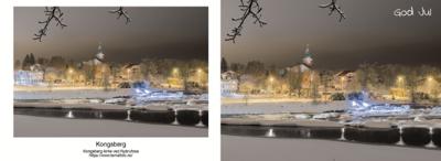 A6 Postkort - Kongsberg kirke og elv God Jul Dobbelt Postkort med konvolutt