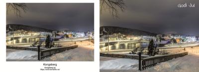 A6 Postkort - Utsikt over by og elv God Jul Dobbelt Postkort med konvolutt