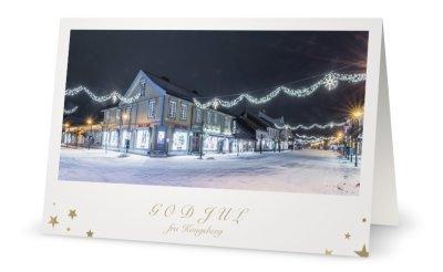 Dobbelt Postkort med konvolutt - Julepyntet sentrumsgate - Julekort