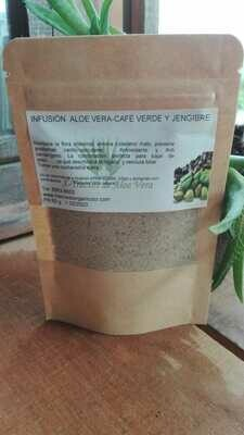 Té o Infusión de Café Verde, Aloe Vera y Jengibre en polvo (Quemar grasa) (30 tomas)