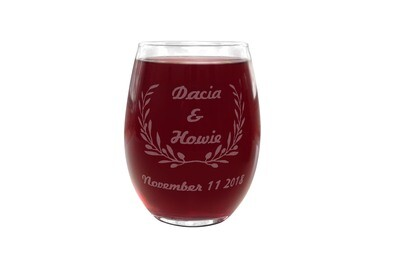Wreath with Names & Dates Personalized PLASTIC Stemless Wine Glass