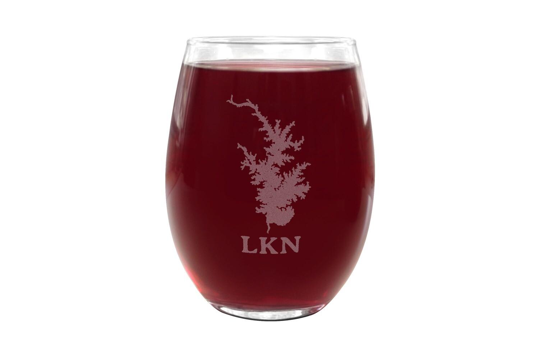 Body of Water w/Location Name Custom Stemless Wine Glass