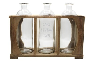 Customized Walnut Wood Caddy with 3 Vases