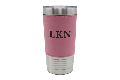 Leatherette 20 oz Custom Insulated Travel Mug w/Initials or Saying