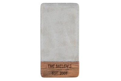 Personalized Concrete & Wood Cutting Board with Family Name