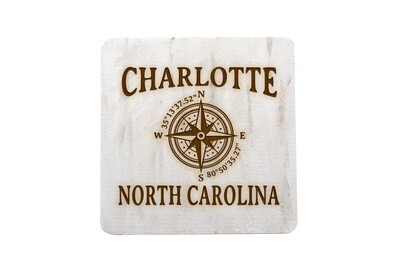 City & State w/Latitude Longitude Hand-Painted Wood Coaster Set