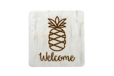 Pineapple with Welcome or Your Word Choice Hand-Painted Wood Coaster Set.