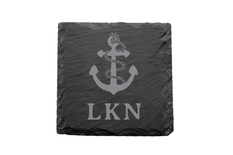 Anchor w/Rope & Custom Location Slate Coaster Set