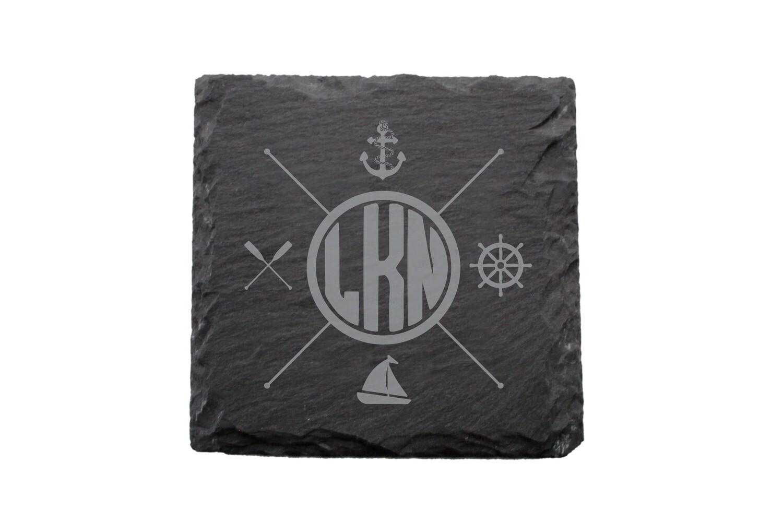 Nautical Themes Customized with Location Slate Coaster Set