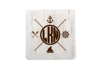 Nautical Themes Customized with Location Hand-Painted Wood Coaster Set