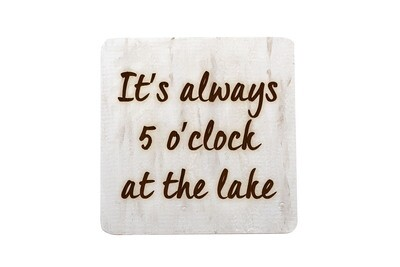 It's always 5 o'clock at the Lake or Beach Hand-Painted Wood Coaster Set