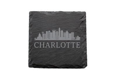 City Skyline on Slate Coaster Set