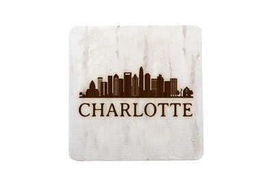 City Skyline on Hand-Painted Wood Coaster Set