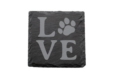 LOVE with Dog or Cat Paw Print Slate Coaster Set