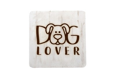 Dog or Cat Lover Image on Hand-Painted Wood Coaster Set