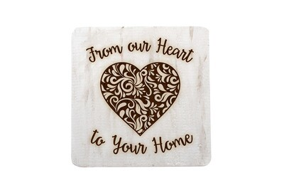 From our Heart to Your Home Hand-Painted Wood Coaster Set