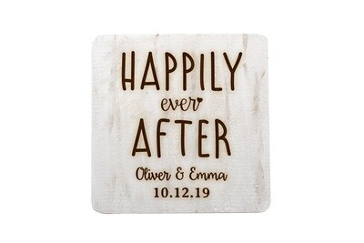 Custom Happily Ever After Hand-Painted Wood Coaster Set