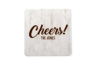 Custom Cheers w/Name Hand-Painted Wood Coaster Set