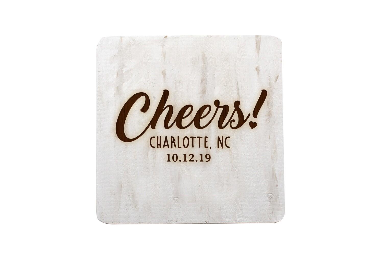 Custom Cheers w/City & State & Date Hand-Painted Wood Coaster Set