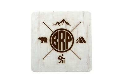 Recreation Themes Customized with Location Abbreviation Hand-Painted Wood Coaster Set