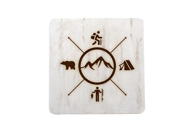 Mountains with 4 Outdoor Themes Hand-Painted Wood Coaster Set