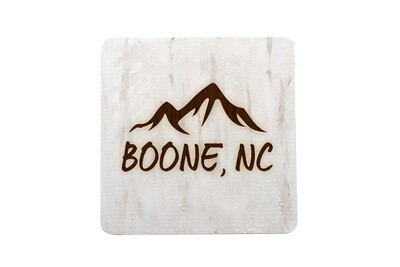 Mountains Customized with City & State Hand-Painted Wood Coaster Set