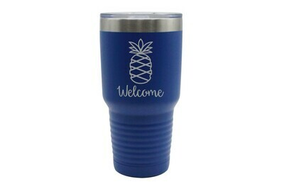 Pineapple w/Welcome or Your Custom Word Insulated Tumbler 30 oz