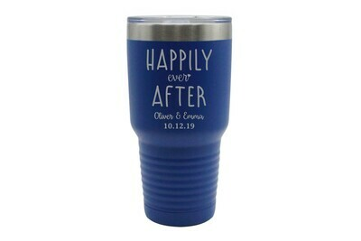 Custom Happily Ever After with Names & Date Insulated Tumbler 30 oz