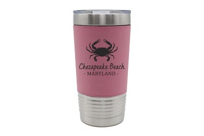 Leatherette 20 oz Crab & Customized Location Insulated Tumbler