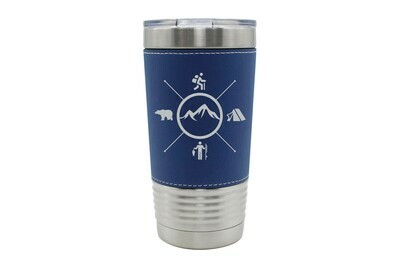 Leatherette 20 oz Mountains with 4 Outdoor Themes Insulated Tumbler