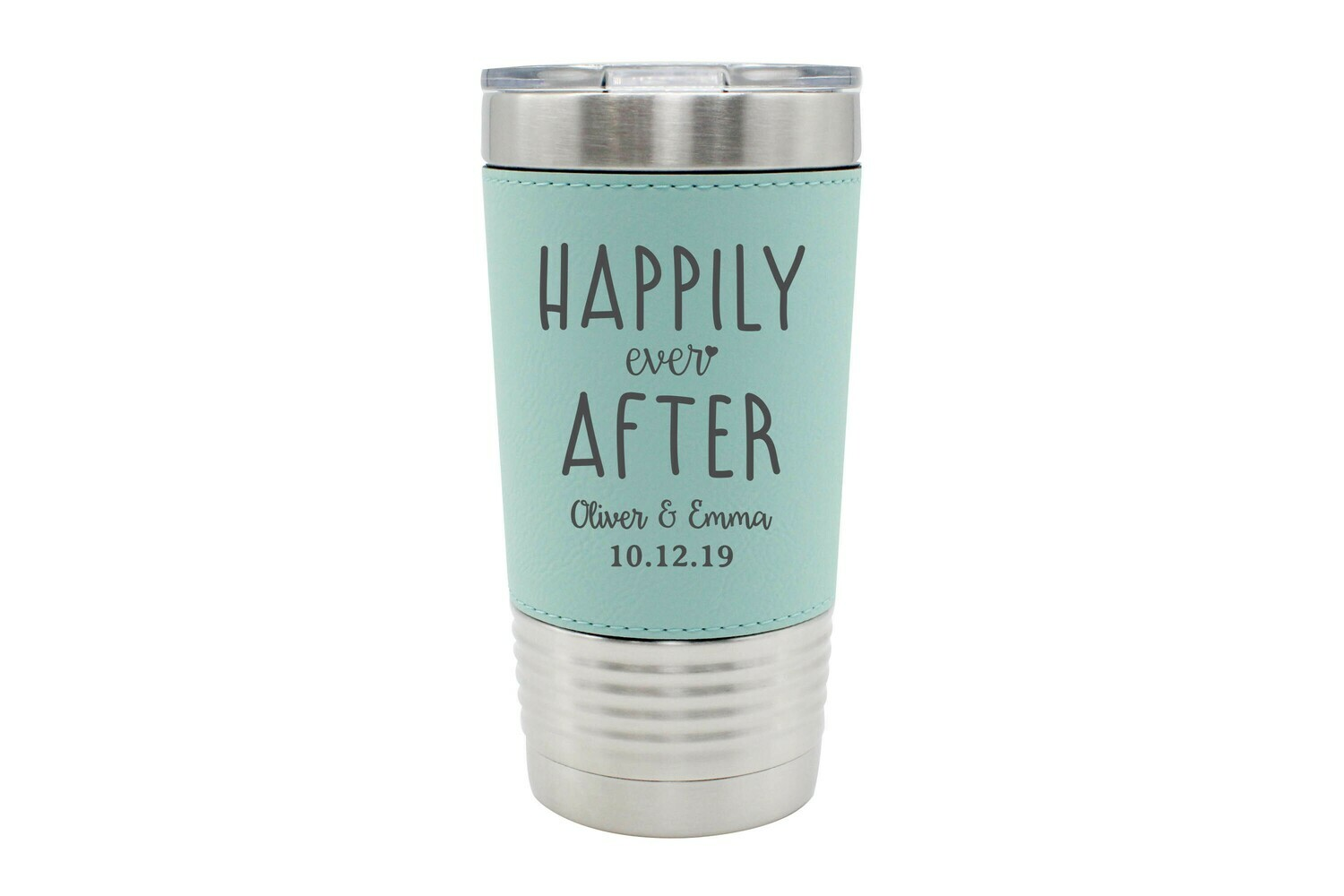 Leatherette 20 oz Custom Happily Ever After with Names & Date Insulated Tumbler