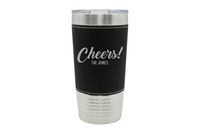 Leatherette 20 oz Custom Cheers w/Name Insulated Tumbler