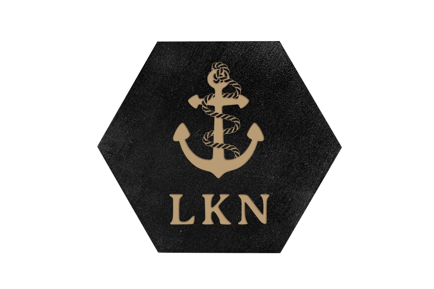 Anchor w/Rope & Custom Location HEX Hand-Painted Wood Coaster Set