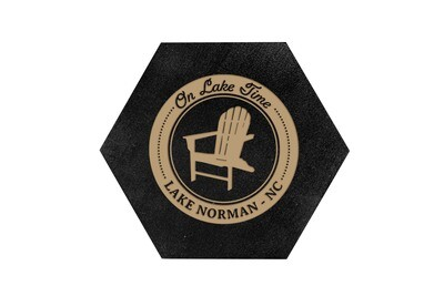 On Lake Time w/Chair & Customized Location HEX Hand-Painted Wood Coaster