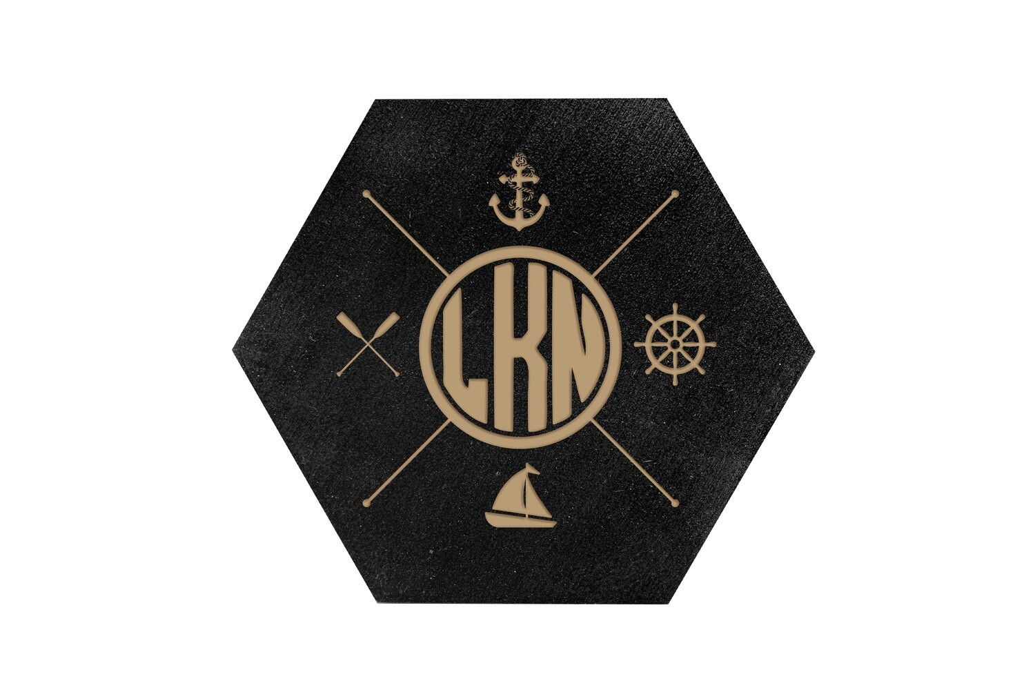 Nautical Themes Customized with Location HEX Hand-Painted Wood Coaster Set